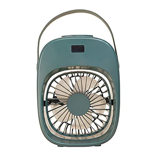 3 Spazio di velocità Regolabile Aria Condizionata A Vapore, Ricarica USB Piccolo Umidificatore dello Spazio, Ventilatore di Raffreddamento Domestico con Manico,Verde