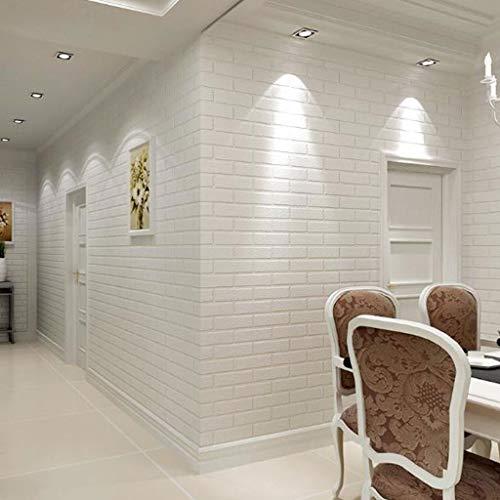 Papel Pintado Decoración de la pared de ladrillo blanco estilo industrial del papel pintado del papel pintado 3D material del rodillo del PVC for el dormitorio salón comedor, 10 x 0.53m Fine Decor Wal