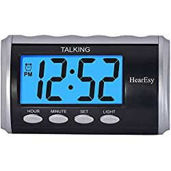Talking Alarm Clock for Visually Impaired - Large Numbers Desk Clock - Day Clock for Seniors - Battery Operated Large Display Alarm Clock by hearEsy 1714-IPS