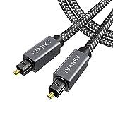Câble Optique 3m iVANKY - Câble Fibre Optique Audio Numérique Toslink en Nylon Tressé équipé de Fils de Japon TORAY pour Barre de Son Samsung/LG/Sony/Bose, Home Cinéma, TV, PS4, Xbox et Plus - Gris