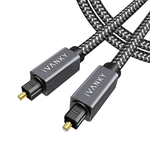 iVANKY Cavo Ottico Audio Digitale Toslink - Cavo Audio Ottico [ Suono Incredibile, 24K connettori ] Cavo Ottico Compatibile per Sound Bar, PS3/PS4,TV, Xbox, LG, Sony, Samsung ecc -3M Grigio Siderale