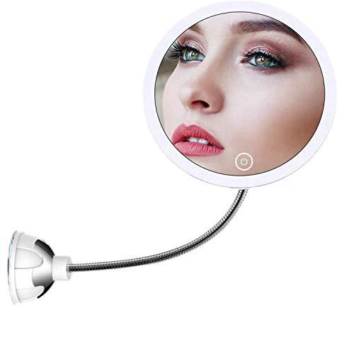 STLOVe LED 10X Kosmetikspiegel Schminkspiegel Mit LED-beleuchtetem 10X Vergrößerungsspiegel mit Saugnapf und flexiblem Schwanenhals 360 ° Verstellbarer Badspiegel USB&batteriebetrieben (Mirror 5)