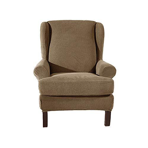 XDKS Ohrensessel Schonbezug,ohrensessel Bezug Stretch Jacquard Elastische Sofaüberwurf Schutzhülle Aus Elastischem Sessel Husse Für Ohrensessel (Kamel)