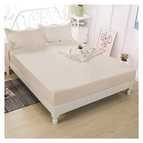 LJP Bedding Mattress Protector Cover Waterproof Anti Dust Mite Bed Cover With Skirt Breathable Non Slip Machine Washable (Color : Khaki, Size : 180x200cm)