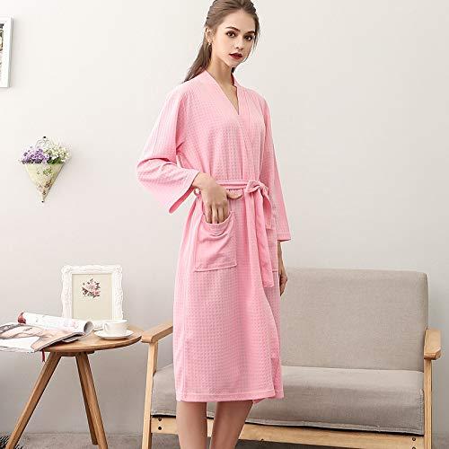 Rao-zhi Baden Lieferungen Autumn Thin Paar Waffel Bademantel for Männer und Frauen-DREI-Punkt-Sleeve Bademantel Robe Damen Pyjamas Geeignet für zu Hause (Color : Pink, Size : XL)
