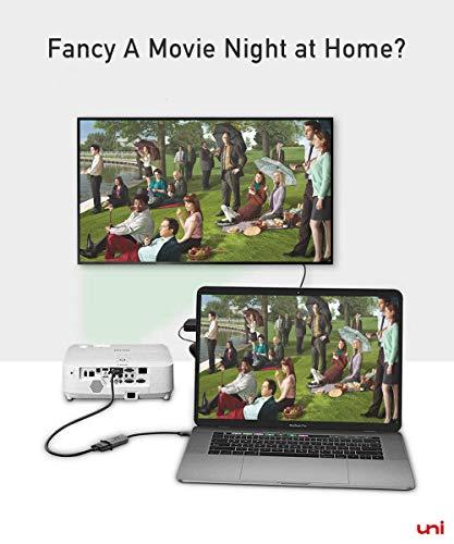 uni USB-C auf VGA Adapter, Typ-C auf VGA Adapter, kompatibel mit iPad Pro 2018, MacBook, Dell XPS, Surface Book 2, Galaxy S9/S8, Huawei Mate 20/10, P20 Pro usw. - Space Gray