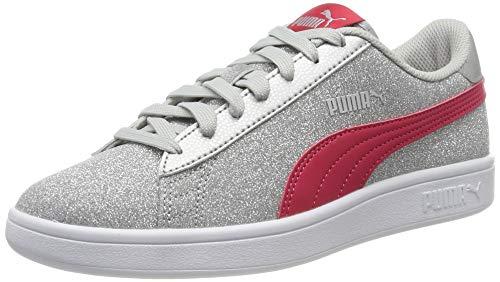 Puma Smash V2 Glitz Glam Jr', Sneaker Bambina, Grigio Silver-Nrgy Rose-Gray Violet, 38 EU