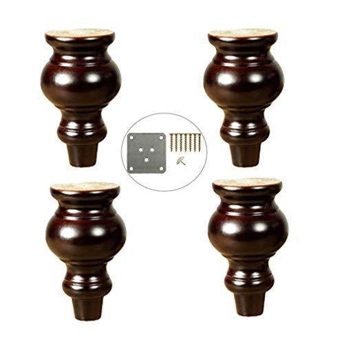 ZTMN houten tafelpoten, massief hout bank voeten, pak van 4, voor bank fauteuil Recliner dressoir Vanity TV kabinet meubels benen vervangende onderdelen (4inch/10cm)