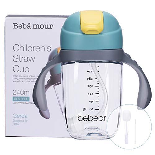 Bebamour Sippy Cup para bebé 6-12 meses A prueba de derrames Sippy Cup con paja para niños Botella de agua con taza de silicona suave para niños pequeños, sin BPA, 240 ml, Blue