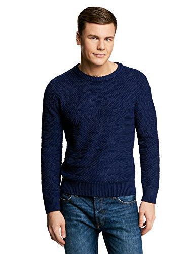 oodji Ultra Hombre Jersey de Punto Texturizado con Cuello Redondo, Azul, ES 56 / XL