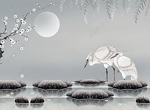 Wallpaper 3D Wallpapers for Walls Mural Plum Blossom Egret River Water Stone Wall Murals for Bedrooms and Living Room Tv Background Wall Mural Decoration Art 400cmx280cm