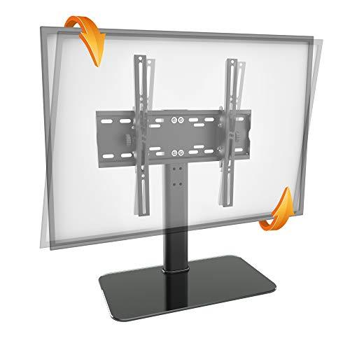 RICOO TV Ständer FS314-B für 30-55 Zoll (ca. 76-140cm) Neigbar mit Kabelmanagement Fernseh Halterung Stand Fernseher Fernsehständer Flachbildschirme | VESA 200x100 400x400 Schwarz Glas Hochglanz