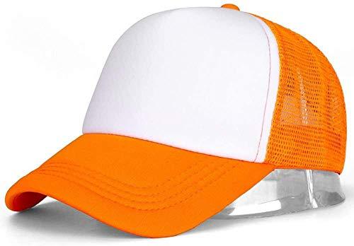 XJIUER hat Casquette Baseball 1 Pcs Unisexe Casquette Casual Plaine Mesh Réglable Snapback Chapeaux pour Femmes Hommes Hip Hop Casquette De Camionneur Streetwear Papa Chapeau-Orange Blanc