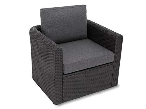 Kissen Set für Rattan / Korbsessel, Rückenlehne Sitz, Sitzkissen Outdoor Sitzpolster Gartenstuhl , Sitzauflage Rattan-Stuhl, 60x55x40 cm - Schwarz