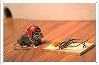ブリキポスターサインマウスチーズネズミ捕りヘルメットおかしい金属