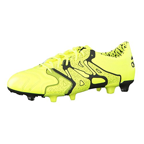 adidas X 15.1 FG/AG Leather Mens Football Boots Soccer Cleats (UK 13 US 13.5 EU 48 2/3, Yellow Black B26979)