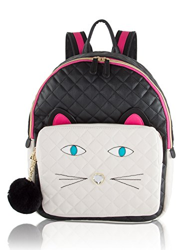 Betsey Johnson Large Quilted Cat Face Backpack - Black/White