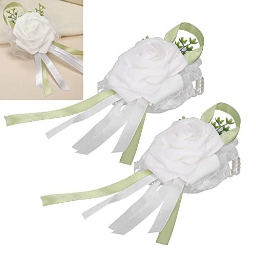 OKAT Flor de Mano Nupcial, Ramillete de muñeca de Boda 2 Piezas Ramillete de muñeca de Flor Artificial para Bodas(Blanco)