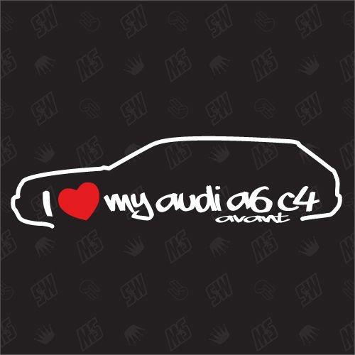 speedwerk-motorwear I Love My A6 C4 Avant - Sticker Bj.82-94, kompatibel mit Audi