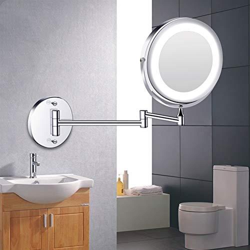 ZXF Espejo Maquillaje Maquillaje conducido Espejo con luz Plegable de Montaje en Pared Espejo de baño 1x 10x de Doble Cara táctil Brillantes Espejos de baño Ajustable (Color : Silver)