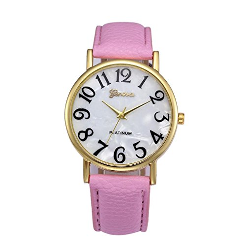 Xinantime Relojes Pulsera Mujer,Xinan Digital Retro Dial Cuero Banda Relojes de Cuarzo (Rosa)