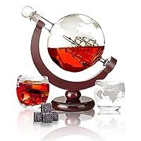 🎁🍺【Klassisches Whisky-Dekanter-Set】--Der Globus-Dekanter wird mit 1 x Globus-Karaffe 850 ml, 1 x Luxuriöser Base, 2 x Whiskyglas, 9 x Eis Stein, 1 x Trichter, 1 x Tasche geliefert. Genießen Sie Ihren Whisky in Ihrer Freizeit. 🎁🍺【Handgemachte Kunstwer...