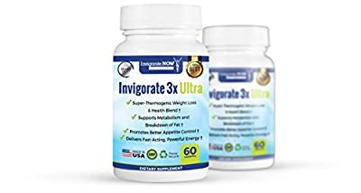Invigorate 3X Ultra - Burns Up to 30.1lbs in 90 Days with Diet - by InvigorateNOW - Natural Herbal Supplement, Clinically-Backed Appetite Suppressant with Phytosome & Chromium (60 Capsules) 2 Bottles