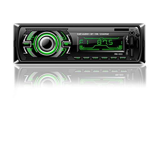 Radio Coche | Honboom Autoradio Bluetooth RDS | Radio 1 DIN | FM Radio 4x60W | Receptor de Manos Libres Bluetooth Reproductor de MP3 para Automóvil con Control del Volante Admite AUX/USB/SD