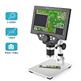 LCD Digital USB Microscope 7 inch HD Screen 1200X Magnification Camera Video Recorder with Rechargeable Battery,8 LED Lights for Soldering PCB Circuit Board Repair Coins Insect