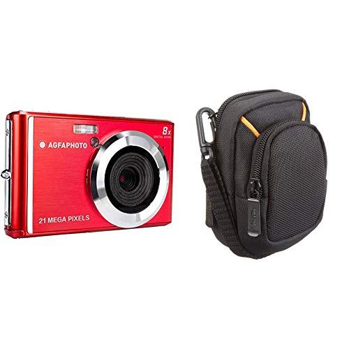 AGFA Photo – Kompakte Digitalkamera mit 21 Megapixel CMOS-Sensor, 8X Digitalzoom und LCD-Display Rot & AmazonBasics Kameratasche für Kompaktkameras, mittlere Größe