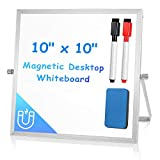 """Small Dry Erase White Board for Desk 10"""" X 10"""", ARCOBIS Magnetic Portable Double-Sided Easel Board Personal Desktop Tabletop Dry Erase Board with Stand for Kids Home Office"""