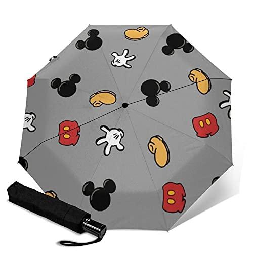 Mickey Minnie paraguas plegable automático portátil para mujeres y hombres reforzado resistente al viento marco impermeable y resistente a los rayos UV