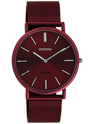 Oozoo Vintage Damenuhr mit Milanaiseband Cherry Lady 40 MM Rot C20001