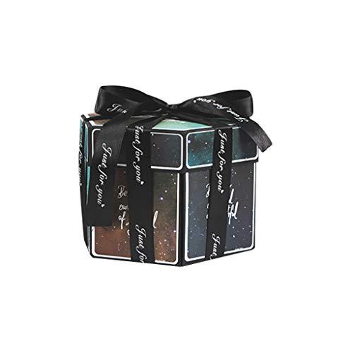 Hniunew Überraschungsbox Kreative DIY handgemachtes Album Geschenk Scrapbook Foto-Album Geschenkbox Hexagon-Album Selbstklebend Explosionsbox Explosion Box Valentinstag Geburtstag