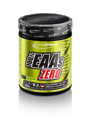 IronMaxx 100% EAAs Zero, Ice Tea Lemon – Reines Aminosäuren-Pulver – Zuckerfreies Supplement für den Muskelaufbau – 1 x 500 g Pulver