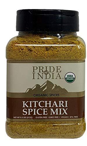 Pride Of India - Organic Indian Kitchari Spice Seasoning - 8oz (227gm) Zeefpot - Maak perfect smakende rijst- en linzenpilaf - Geen voorbereiding nodig - Gemengd met 7 unieke veganistische kruiden - Milde currysmaak