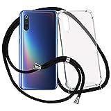 mtb more energy® Handykette kompatibel mit Xiaomi Mi 9, Mi 9 Explorer (6.39'') - schwarz - Smartphone Hülle zum Umhängen - Anti Shock Strong TPU Hülle