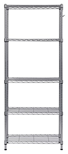 """Muscle Rack WS241459-5S 5 Tier Wire Shelving with Hooks in Silver, 59"""" Height, 24"""" Width, 14"""" Length"""