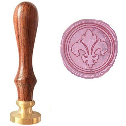 MDLG Vintage Fancy Fleur-de-lis Picture Logo Wedding Invitation Wax Seal Sealing Stamp Rosewood Handle Set Kit (Stamp Only)