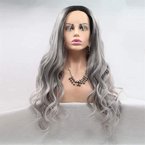 Hermosa peluca larga ondulada Pelucas teñidas largas y rizadas para mujeres en Europa y América Peluca ubicada en el centro de la peluca de fibra química, juego de cabello - gris - pelo largo y rizado