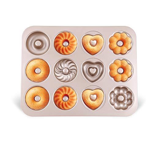 Donut Backform Kuchen Bagelform Donut Formen Backblech aus Kohlenstoffstahl Antihaft 4 verschiedene Modelle 12 Vertiefungen für Donut-Backen Muster Muffins Kekse Bagels Pudding Form