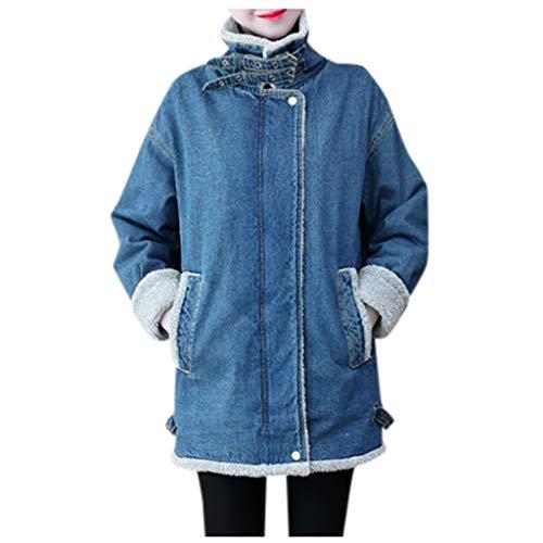 Best Deals! Women Fleece Denim Coat Plus Size Faux Fur Jacket Winter Zipper Jean Outwear Boyfriend C...