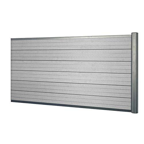 Mendler WPC-Sichtschutz Sarthe, Windschutz Zaun, Alu-Pfosten - Erweiterungselement niedrig, 1,85m grau