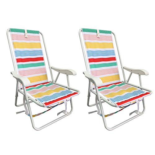 Set of 2 Powder Coated Sturdy Steel Frame Space Saving Backpack Beach Chairs for All Ages (Multi Stripe)