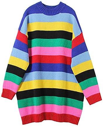 JIAKENVDE Knitwear Rainbow color Stripe Loose Thin Middle Thick Winter Woolen Sweater Dress