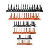 OEMTOOLS 22418 6 Piece Socket Organizer Tray Set, Orange and Black, Socket Rails, Holds 80 SAE & 90 Metric Sockets, Deep and Shallow, 1/4', 3/8', 1/2' Drive