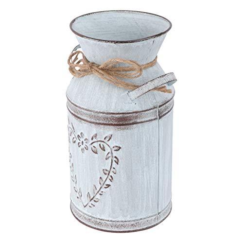 Cabilock Shabby Chic Metal Vase Rustic Metal Flower Vase Vintage Farmhouse Jug Vase Galvanized Milk Can Holder for Home Decor