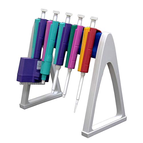 Lab Linear Pipettor Stand Rack, Hold Up 6 Micropipettes, Premium Engineering Plastic Polymer, Excellent Chemical Reagent Corrosion Resistance