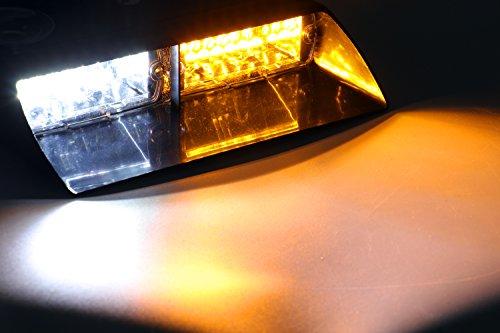 Jackey Awesome Car 16-led 18 Flashing Mode Emergency Vehicle Dash Warning Strobe Flash Light (Amber & White)