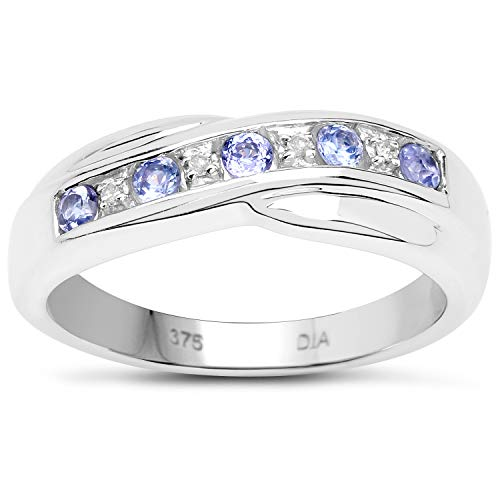 The Diamond Ring Collection: 9ct White Gold 0.25ct Tanzanite & Diamond Channel Set Crossover Eternity Ring Valentines (Size N)
